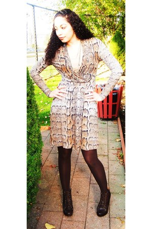 light brown snake print H&M dress - dark brown urban original boots