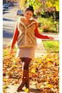 Dark-brown-boots-carrot-orange-cardigan-camel-vest