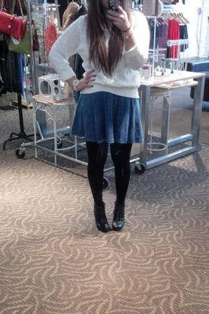 Payless boots - thrifted sweater - gifted tights - H&M skirt