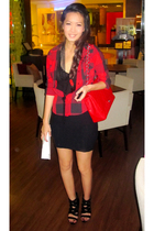 red Topshop shirt - black Topshop top - black Topshop skirt - black Zara shoes -