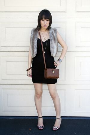 black dress - gray vest - beige Paolo shoes - brown accessories