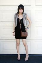 black dress - gray vest - beige Paolo shoes - brown accessories
