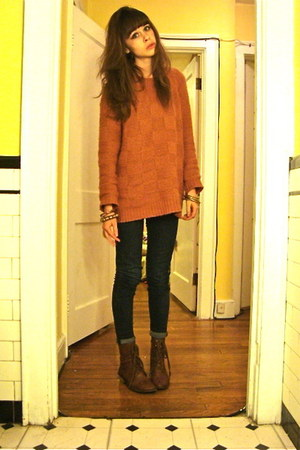thrifted boots - 7 for all mankind jeans - Urban Outfitters sweater