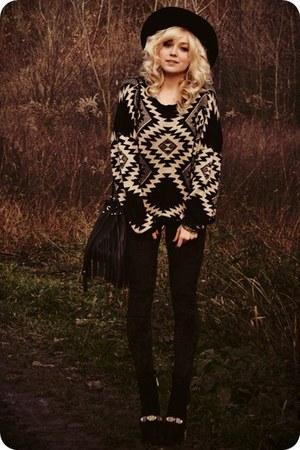 beige sweater - black boots