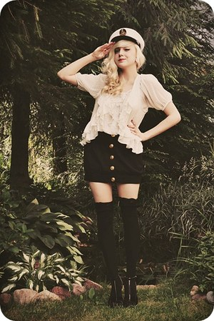 ivory vest - ivory blouse - black skirt