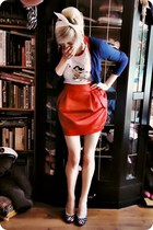 red skirt - white top - navy cardigan