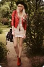 Ruby-red-boots-ivory-dress-dark-brown-necklace