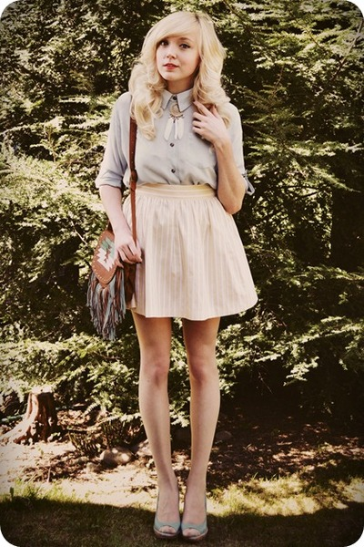 light yellow skirt - periwinkle shirt - brown bag