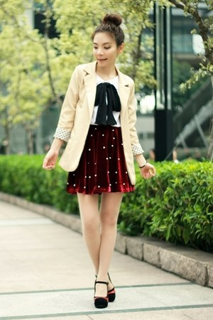 beige polka dots cuff blazer - ruby red H&amp;M bag - black heels - ruby red skirt
