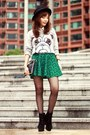 Green-baroque-sheinside-skirt-black-suede-lace-up-boots-black-h-m-hat
