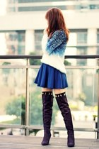 blue dip-dye Choies sweater - deep purple boots - black Choies socks