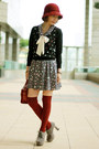 Cardigan-suede-lace-up-boots-dress-cloche-hat-satchel-bag