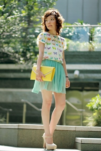 light yellow bag - aquamarine pleated chiffon skirt - white Zara top