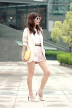 light pink lace H&M blazer - yellow Monki bag - light pink H&M shorts