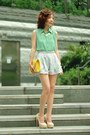 Aquamarine-shirt-yellow-bag-light-blue-floral-print-shorts