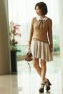Eggshell-dress-camel-h-m-sweater-brown-alexa-mini-mulberry-bag