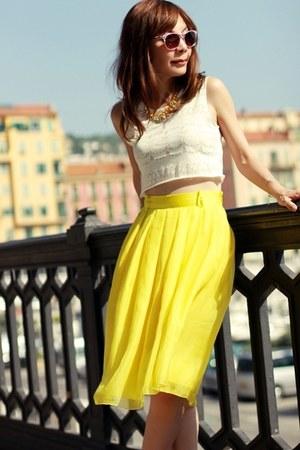 yellow chiffon Choies skirt - bubble gum metallic H&M sunglasses