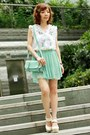 Satchel-bag-heels-pleated-skirt-blouse-accessories