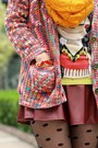 Red-knit-cardigan-light-orange-knit-infinity-h-m-scarf-magenta-bag