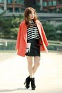 Carrot-orange-sheinside-coat-black-stripes-knit-forever-21-sweater