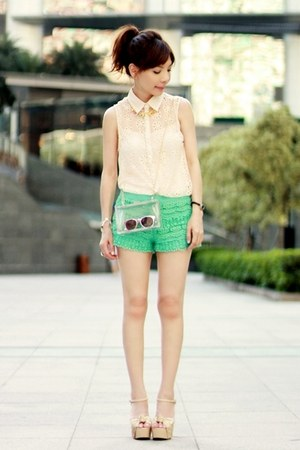 eggshell lace shirt - Choies bag - turquoise blue crochet lace shorts