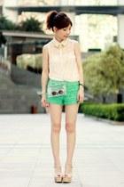 eggshell lace shirt - Choies bag - turquoise blue crochet lace shorts