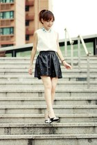 black skirt - white Sheinside shirt - silver Choies heels