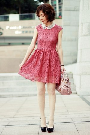 coral lace H&amp;M dress - light pink bow satchel Miu Miu bag
