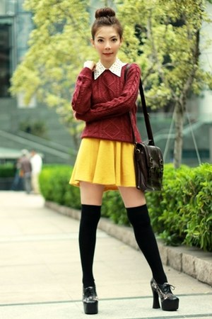 mustard skirt - black suede lace up Jeffrey Campbell shoes - maroon H&amp;M sweater