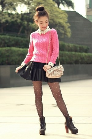hot pink knit H&amp;M sweater - white shirt - black pink hearts tights