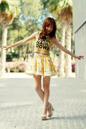 yellow Sheinside skirt - white gold necklace - dark khaki Bershka top