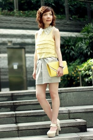 light yellow 2-tone clutch bag - silver eyelet collar H&M accessories