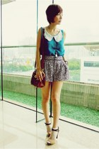 H&M shorts - turquoise blue top