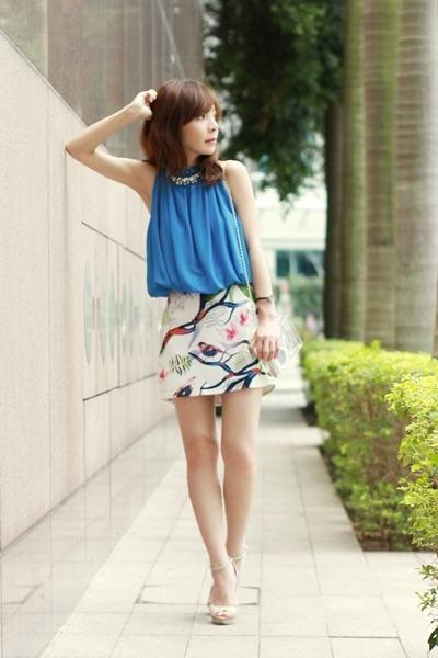 white Sheinside skirt - Choies bag - white retro sunglasses