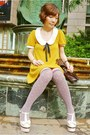 Mustard-dress-dark-brown-satchel-bag-light-brown-pink-polka-dots-socks