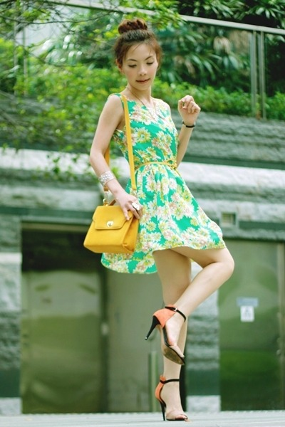 lime green floral print dress - mustard bag - yellow belt