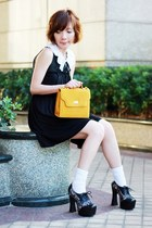 white socks - black sheer neckline BCBG dress - mustard bag - white accessories