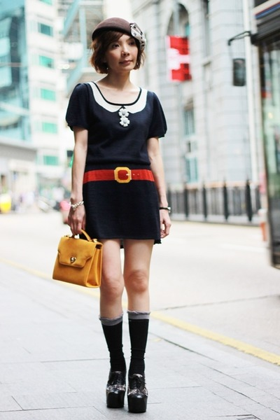 dress - Jeffrey Campbell shoes - hat - heart lock bag - socks - DIY accessories