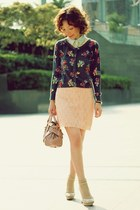 charcoal gray floral print Fox cardigan - light yellow lace Forever 21 shirt