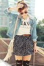 Light-blue-sheinside-jacket-black-cat-print-tights