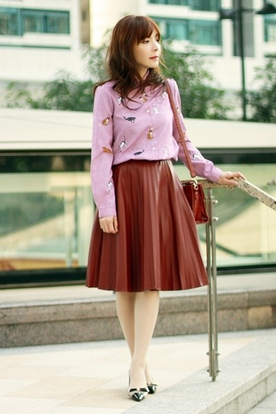 maroon Front Row Shop skirt - black Sheinside jacket
