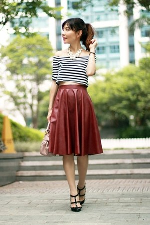 black Sheinside top - light pink Miu Miu bag - maroon Sheinside skirt