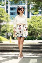 white Choies skirt - white cropped Choies shirt - silver star Choies bag