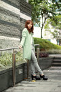 white houndstooth pants - black Choies shoes - aquamarine Choies coat