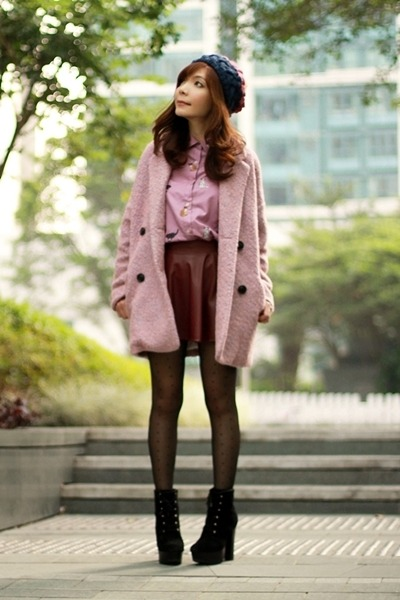 pink tweed Choies coat - black suede lace-up boots - navy hat
