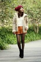 black suede lace-up boots - camel fake sheepskin Uniqlo coat - maroon hat