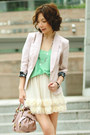 Light-pink-h-m-blazer-light-pink-bow-satchel-miu-miu-bag-primark-socks