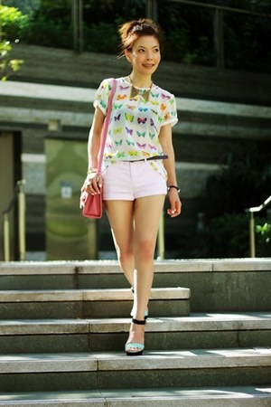 bubble gum satchel bag - light pink H&amp;M shorts - white Zara top