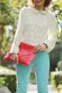 Aquamarine-coloured-jeans-h-m-jeans-hot-pink-envelope-bag-bag-ivory-blouse