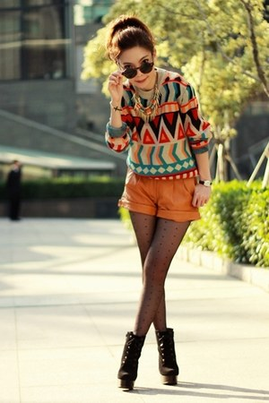 black cross bracelet - red sweater - light orange leather Viparo shorts